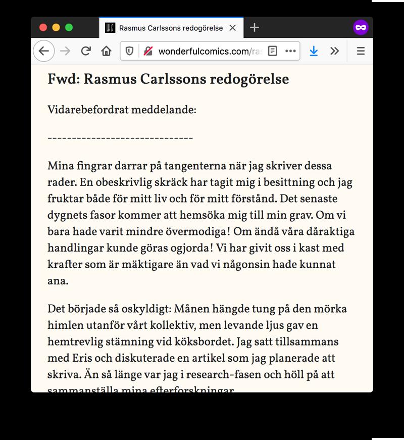 Rasmus Carlssons redogörelse HTML-version